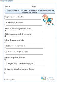 Ortografía: Lengua Castellana ficha online Elementary Spanish, Spanish Classroom, Occupational Therapy, Speech Therapy, Bullet Journal School, English Activities, 5th Grades, Grammar, Acting