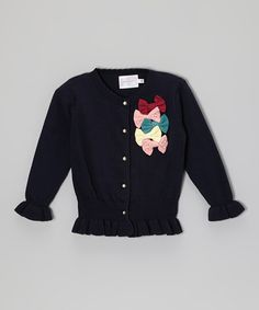 Take a look at this Dark Blue Bows Sweater - Toddler & Girls by Blossom Couture on #zulily today!