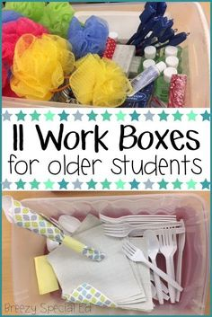 Work Task Boxes for Special Ed Functional teaching ideas for multi-needs special education, with a transition / life skills focus.Functional teaching ideas for multi-needs special education, with a transition / life skills focus. Life Skills Lessons, Life Skills Activities, Special Education Activities, Life Skills Classroom, Teaching Life Skills, Special Education Classroom, Teaching Ideas, Autism Activities, Classroom Setup