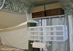 Pop Up Camper Mods: Tension Rod Wire Shelving