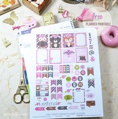 Forest Friends Planner Stickers - Free Printable - Vintage Glam Studio