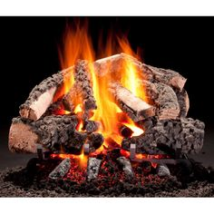 Hargrove Woodland Timbers Gas Log Set With Vented Propane H-Burner - Manual Safety Pilot W/ Wireless On/Off Wall Switch Kit Propane Fireplace, Fireplace Tool Set, Fireplaces, Foyers, Log Home Interiors, Ceramic Fiber, Gas Logs, Fire Glass, Hearth And Home