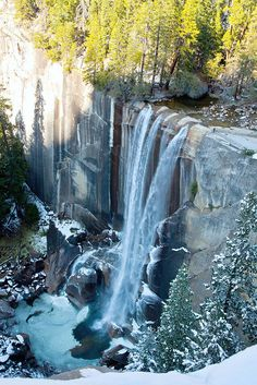 Yosemite National Park in California is the place to go for waterfall watching. This is Vernal Falls.