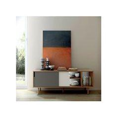 meuble tv hifi plaqué chêne naturel porte blanche   tvs - Meuble Tv Buffet Design