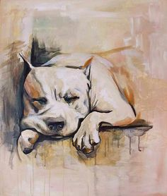 Beautiful acrylic painting of a pit bull.