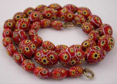 Vintage / antique Venetian glass beads. *trade beads bead collection wedding cake beads millefiori