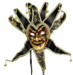 Black Gold Venetian Jester Mask for Men Mardi Gras Costume Accessory Velvet New | eBay