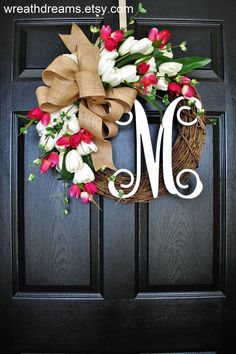 White & Rose Pink Tulips Monogram Grapevine Wreath by WreathDreams