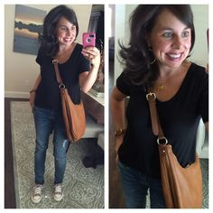 A Tee and Jeans: a black tee, distressed jeans, slip on converse, and a cognac cross body bag