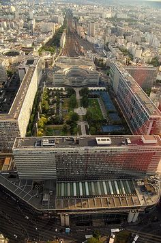Montparnasse station and Jardin Atlantique, Paris, view from the summit of the Montparnasse Tower