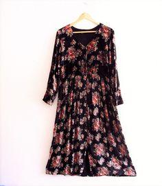 Bohemian Floral Black Velvet Maxi Dress by KheGreen on Etsy