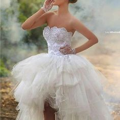 Short Beach Wedding Dresses High Low Bridal Gown Short Front Long Back Ball Gow