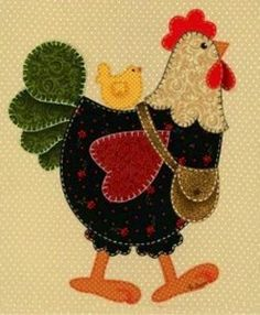 Chicken Block - I really must make a chicken quilt for hubby's porch blanket! Felt Applique, Applique Quilts, Patchwork Quilting, Embroidery Applique, Sewing Appliques, Applique Patterns, Quilt Patterns, Applique Ideas, Quilt Baby