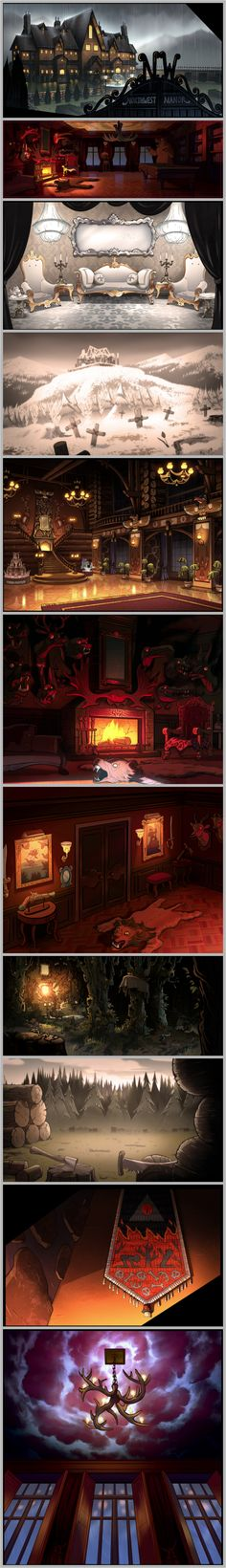 Gravity Falls -- A Tour of Northwest Manor. Art Direction: Ian Worrel. Designed by: Alex Chechik, Janine Chang, Matthias Bauer, Sun Jae Lee. Paintings by: Jeffrey Thompson, Matthias Bauer, Paul Tsui, Samantha Kallis, Manddy Wyckens
