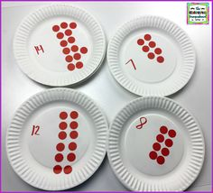 Paper plates make cheap, easy and durable centers! Use dot stickers to make counting puzzles! Kindergarten Smorgasboard, Kindergarten Math, Teaching Math, Teaching Ideas, Preschool, Counting Puzzles, Counting Activities, Skip Counting, Guided Math