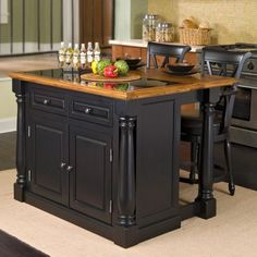 Monarch Slide Out Leg Kitchen Island with Granite Top - contemporary - kitchen islands and kitchen carts - Hayneedle