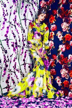 IN FULL BLOOM - Carolina Herrera dress & blouse