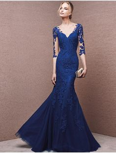 2015 Sexy Illusion Sleeve Cheap Prom Dress Royal Blue Evening Dress Mermaid Formal Long Special Occasion Dress