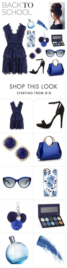 """Nobody leaves without singing the blues"" by hannahmccoy21 ❤ liked on Polyvore featuring self-portrait, Wild Diva, Frederic Sage, Alexander McQueen, Casetify, Nine West, Luxie, Hermès, Eyeko and Gerber"