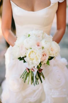 A beautiful white and blush bridal bouquet   Greece Wedding