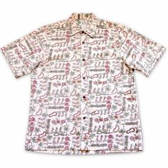 Waikiki White Hawaiian Reverse Shirt  #madeinhawaii #hawaiian