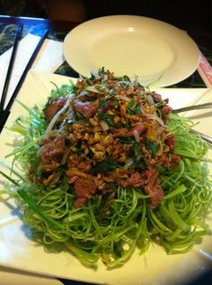Ong choy with beef salad....amazing dish. What I love most about Seattle is the killer Vietnemese food.   Yelp