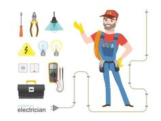 Professional electrician infographics electricity tools installation vector art illustration