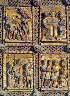 Detail from the wooden doors (ca. 1065) of the church St.Maria in Kapitol, Kohl -