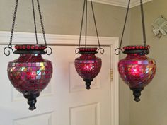 Lovely, Hanging, Vintage, Moroccan Glass Tea Light/Votive/LED Candle Holder in Mosaic Red on Etsy, $35.00