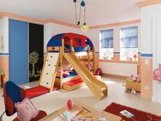 Bunk beds with trundle, slide, and climbing wall...
