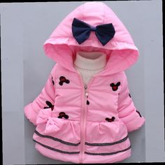 49.00$  Watch now - http://aliwo0.worldwells.pw/go.php?t=32777557762 - 2016 Baby Coats And Jackets Winter Girls Snowsuit Pink Purple Cooton Snow Mickey Mouse Thickening Cap Bow Clothes Size 0-2Y 49.00$