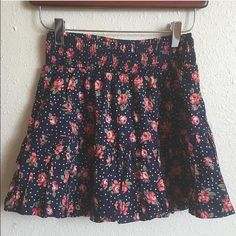"""Forever 21 floral polka dot skater skirt Item: Forever 21 floral polka dot mini skirt with smocked waist. So fun  Stock is just similar not exactly the same Size: M  Measurements: waist 12"""" (lots of stretch) length 13"""" Forever 21 Skirts Mini"""