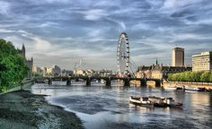 """A view of the River Thames and The Eye Ferris Wheel in London. -- IDS Photos, Flickr -- from """"Thirsty Yet? Eight Cities That Are Improbably Running out of Water""""-- TakePart -- 2-18-16"""