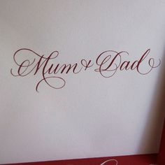 Sweet pointed pen calligraphy.  I like the way the M intersects the first loop.