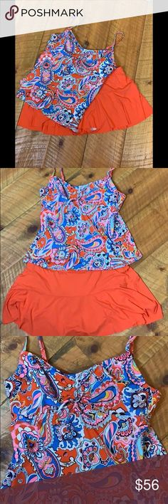 acaab28b2f8f0 Lands' End 14 P Bathing Swim Suit Tankini Bikini Lands' End 14 P Bathing