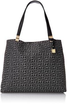 Tommy Hilfiger Hinge Jacuard Travel Tote, Black/White, One Size: Handbags: Amazon.com