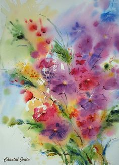 Watercolor by artist Chantal Jodin. Painting & Drawing, Watercolor Drawing, Watercolor Cards, Abstract Watercolor, Watercolor Flowers, Watercolor Artists, Prismacolor, Flower Art, Art Projects