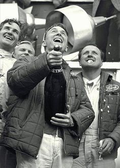 1967 Le Mans. Dan Gurney and AJ Foyt make it to victory lane. Dan grabs the champagne bottle and proceeds to spray champagne all over everyone.... and a tradition is born!