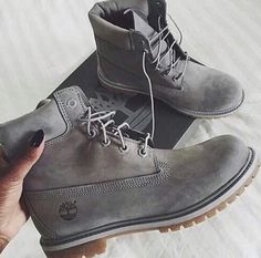 Shop Women's Timberland Gray size 7 Combat & Moto Boots at a discounted price at Poshmark. Timberland Boots Outfit, Sock Shoes, Cute Shoes, Me Too Shoes, Women's Shoes, Bootie Boots, Shoe Boots, Ankle Boots, Outfits