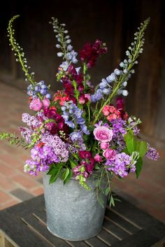 Purple pink and blue wedding flowers