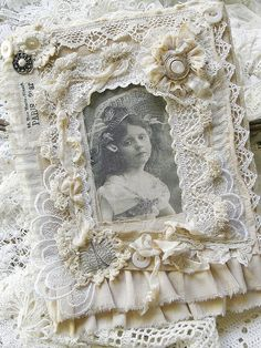 I ❤ victorian . . . fabric collage on canvas . . . By saray-viola