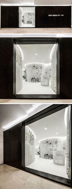 ARCHSTUDIO have designed a modern nail salon that features a dark steel plate exterior and a bright white interior full of lace-like patterns on the walls.