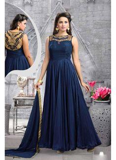 Couleur Bleu Longueur de Sol de Concepteur Indien Robe Anarkali en Soie Pure