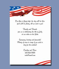 Patriotic Flag & Eagle Invitations