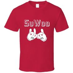 Blood Gang Su Woo, Su Woop, Soo Woop Concept T Shirt ($9.34) ❤ liked on Polyvore featuring tops, t-shirts, red top, red tee and red t shirt