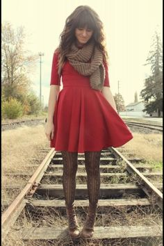 Love ❤ - Great textured tights, good structured dress, and good color choices.
