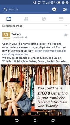 Selling clothes ad facebook. Not relevant, dont sell clothes