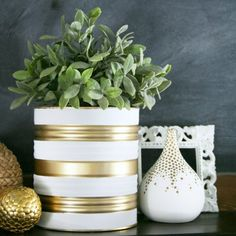 Recycle ordinary tin cans and transform them into these fun Painted Tin Can Planters perfect for indoor or outdoor use. Cd Crafts, Tin Can Crafts, Mason Jar Crafts, Craft Stick Crafts, Diy Craft Projects, Diy Crafts For Kids, Diy Recycling, Recycling Containers, Recycle Cans