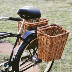 Classic Pannier Bike Basket... <3  Perhaps if I had these, I'd be more motivated to use my bike...
