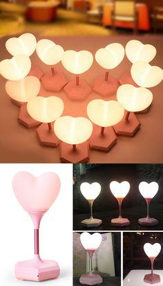 Heart Shape USB Room Decor LED Table Lamp